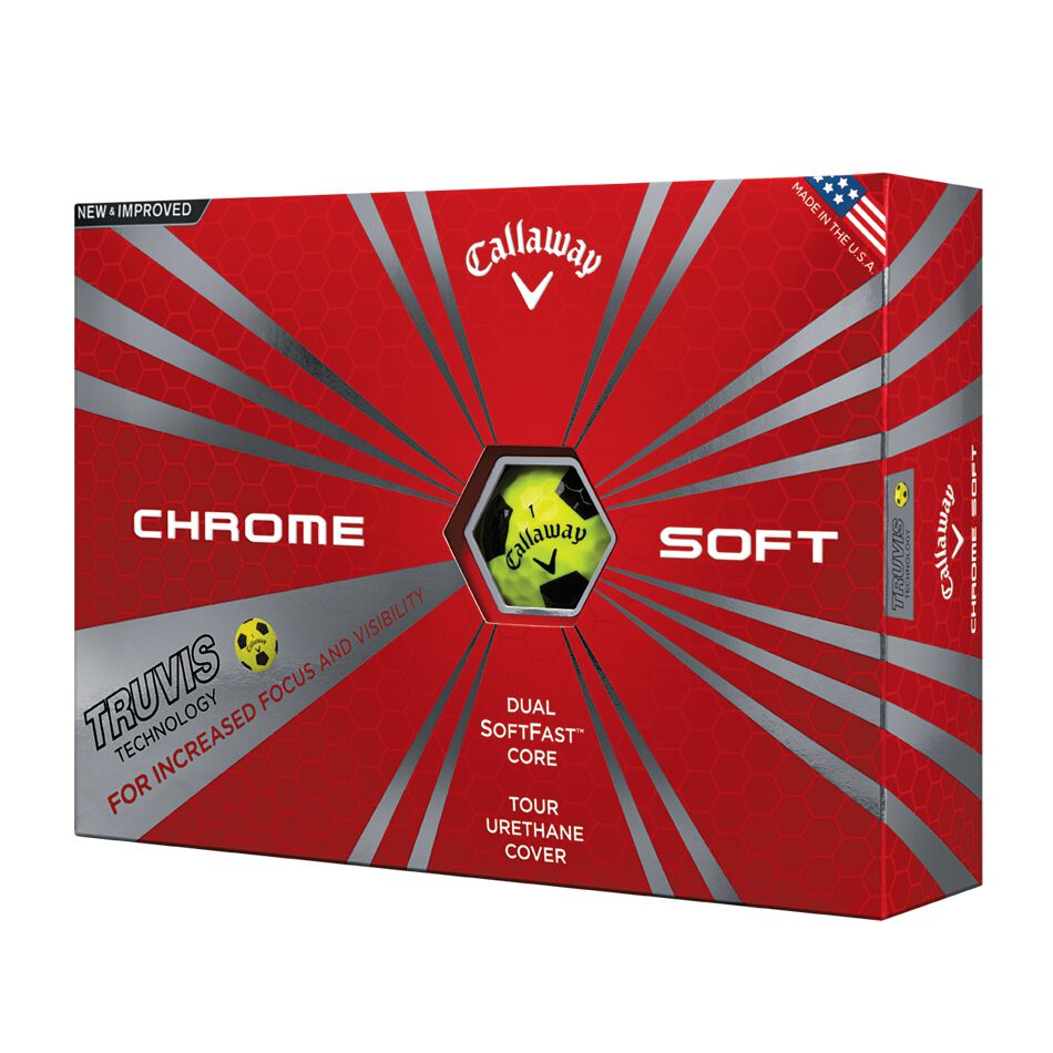 Image of Callaway Golf Chrome Soft Truvis Yellow and Black Golf Balls