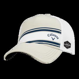 Stripe Mesh Fitted Logo Cap