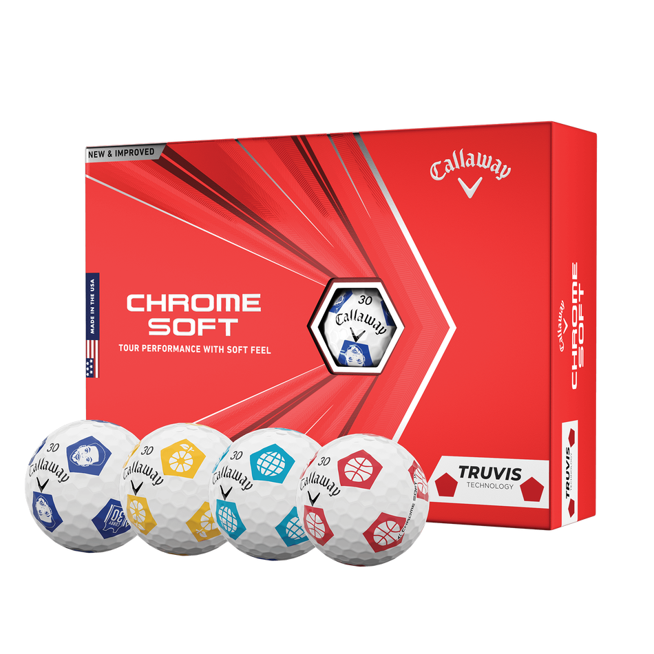 Limited Edition Chrome Soft Truvis Eat. Learn. Play. Golf Balls - Featured